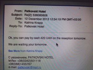 Confirmation from my accommodation…